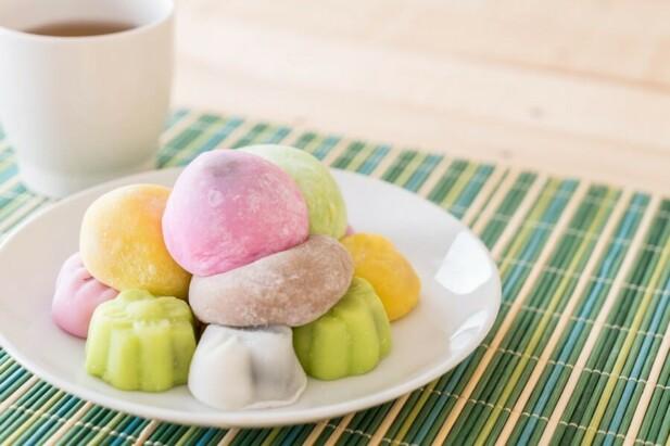 mange farver Japansk Mochi Ris Kage